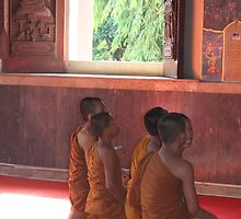 Novice Monks in Ayutthaya, Thailand by sailgirl