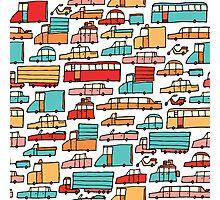 Cartoon seamless car pattern Photographic Print