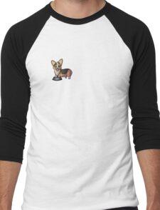 Redhead Tricolor Corgi with Paws in Bowl  Men's Baseball ¾ T-Shirt
