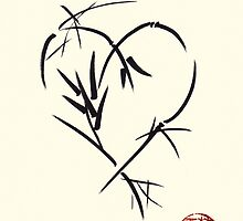 Kyuzo - Sumie ink brush black heart painting by Rebecca Rees