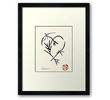 Kyuzo - Sumie ink brush black heart painting Framed Print