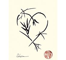 Kyuzo - Sumie ink brush black heart painting Photographic Print