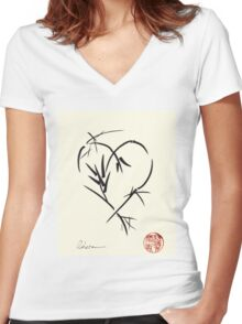Kyuzo - Sumie ink brush black heart painting Women's Fitted V-Neck T-Shirt