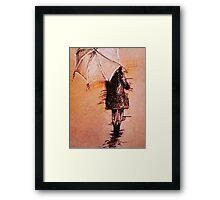 Stroll In The Rain Framed Print