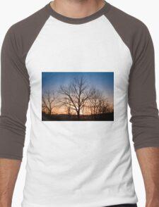 Winter Trees at Dusk Men's Baseball ¾ T-Shirt