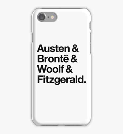 Classic Literature Authors - Black Helvetica (Austen and Bronte and Woolf and Fitzgerald) iPhone Case/Skin