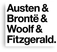 Classic Literature Authors - Black Helvetica (Austen and Bronte and Woolf and Fitzgerald) Canvas Print