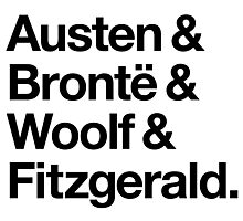 Classic Literature Authors - Black Helvetica (Austen and Bronte and Woolf and Fitzgerald) Photographic Print