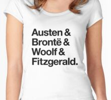 Classic Literature Authors - Black Helvetica (Austen and Bronte and Woolf and Fitzgerald) Women's Fitted Scoop T-Shirt