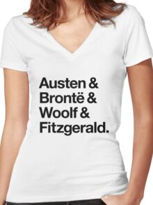 Classic Literature Authors - Black Helvetica (Austen and Bronte and Woolf and Fitzgerald) Women's Fitted V-Neck T-Shirt