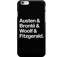 Classic Literature Authors - White Helvetica (Austen and Bronte and Woolf and Fitzgerald) iPhone Case/Skin