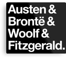 Classic Literature Authors - White Helvetica (Austen and Bronte and Woolf and Fitzgerald) Metal Print
