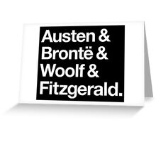 Classic Literature Authors - White Helvetica (Austen and Bronte and Woolf and Fitzgerald) Greeting Card