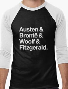 Classic Literature Authors - White Helvetica (Austen and Bronte and Woolf and Fitzgerald) Men's Baseball ¾ T-Shirt