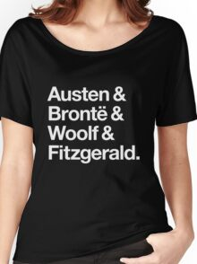 Classic Literature Authors - White Helvetica (Austen and Bronte and Woolf and Fitzgerald) Women's Relaxed Fit T-Shirt