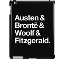 Classic Literature Authors - White Helvetica (Austen and Bronte and Woolf and Fitzgerald) iPad Case/Skin