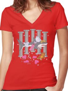 The Cupid Shark Women's Fitted V-Neck T-Shirt