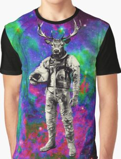 Psychedelic Deer Astronaut (Vintage Effect) Graphic T-Shirt