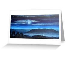 Misty Moonlit Mountains Greeting Card