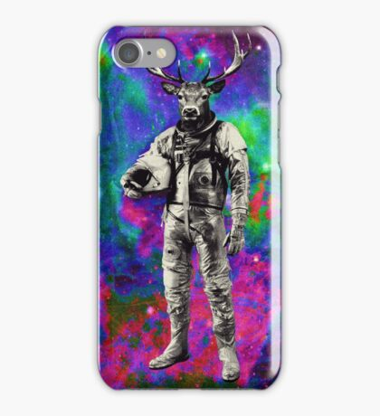 Psychedelic Deer Astronaut (Vintage Effect) iPhone Case/Skin