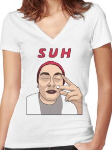 Suh Dude Women's Fitted V-Neck T-Shirt