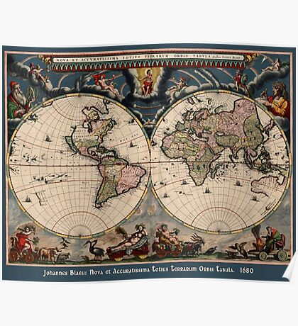 Willem Janszoon Blaeu Map of the World Poster