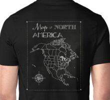 Map of North America chalkboard art, travel, black, white Unisex T-Shirt