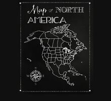 Map of North America chalkboard art, travel, black, white T-Shirt