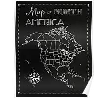 Map of North America chalkboard art, travel, black, white Poster