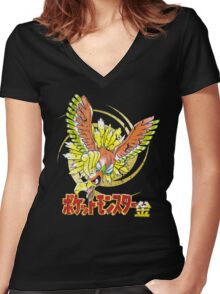 Pocket Monsters: Gold Distressed Women's Fitted V-Neck T-Shirt