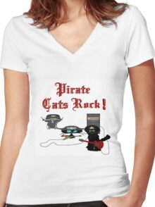 Pirate Cats Rock Women's Fitted V-Neck T-Shirt