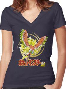 Pocket Monsters: Gold Women's Fitted V-Neck T-Shirt