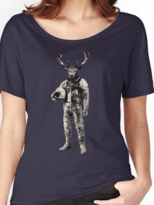 Psychedelic Deer Astronaut (Vintage Effect) Women's Relaxed Fit T-Shirt