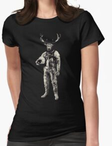 Psychedelic Deer Astronaut (Vintage Effect) Womens Fitted T-Shirt