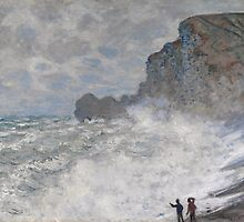 Claude Monet - Rough weather at Etretat ((1883)) by famousartworks
