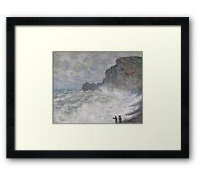 Claude Monet - Rough weather at Etretat, Impressionism Framed Print