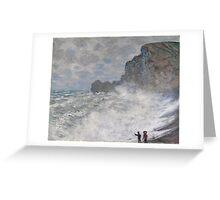 Claude Monet - Rough weather at Etretat ((1883)) Greeting Card