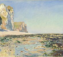 Claude Monet - Seashore and Cliffs of Pourville in the Morning (1882) by famousartworks