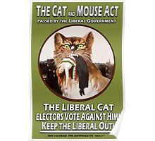 Vintage British Suffragette Cat and Mouse Act  Poster