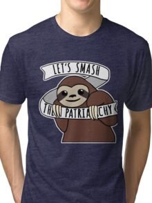 "Feminist Sloth ""Smash the Patriarchy"" Tri-blend T-Shirt"