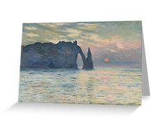 Claude Monet - The Cliff, Étretat,  Sunset Greeting Card