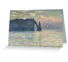 Claude Monet - The Cliff, Étretat,  Sunset  Impressionism Greeting Card