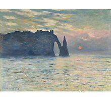 Claude Monet - The Cliff, Étretat,  Sunset Photographic Print