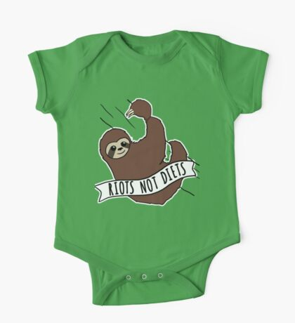 """Feminist Sloth """"Riots Not Diets"""" Anti-Diet Sloth One Piece - Short Sleeve"""