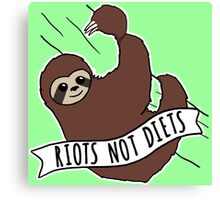 "Feminist Sloth ""Riots Not Diets"" Anti-Diet Sloth Canvas Print"