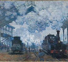 Claude Monet - The Gare Saint-Lazare Arrival of a Train (1877) by famousartworks