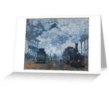 Claude Monet - The Gare Saint-Lazare Arrival of a Train (1877) Greeting Card