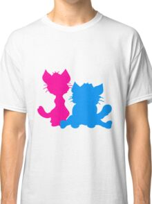 silhouette black outline silhouette sitting sweet cute cat team some 2 friends love Classic T-Shirt