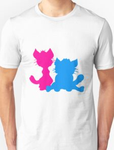 silhouette black outline silhouette sitting sweet cute cat team some 2 friends love Unisex T-Shirt