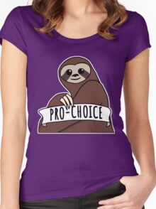 """Feminist Sloth """"Pro-Choice"""" Women's Fitted Scoop T-Shirt"""